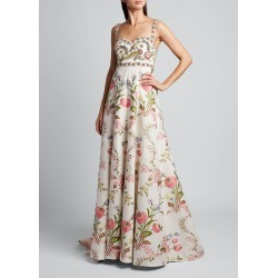 Spaghetti Strap Floral Gown