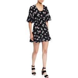 Floral Ruffle-Sleeve Mini Dress found on Bargain Bro India from Bergdorf Goodman for $141.00