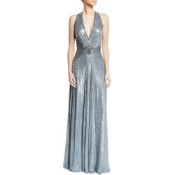 Crisscross-Back Metallic V-Neck Gown found on MODAPINS from Bergdorf Goodman for USD $5465.00
