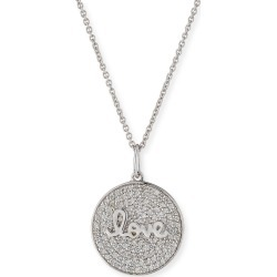 14k White Gold Love Script Diamond Pave Medallion Necklace found on Bargain Bro India from Bergdorf Goodman for $1915.00