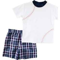 Boy's Baseball Embroidered T-Shirt w/ Plaid Shorts, Size 2-4T found on Bargain Bro India from Bergdorf Goodman for $110.00