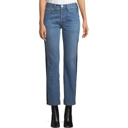 Straight-Leg Denim & Leather Jeans found on MODAPINS from Bergdorf Goodman for USD $1145.00