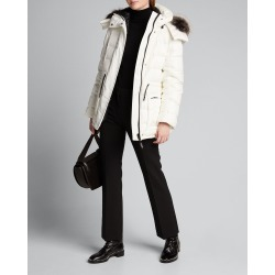 Reversible Fox Fur-Trim Hooded Down Coat
