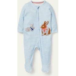 Organic Zip-up Sleepsuit Frosted Blue/Ivory Baby Boden
