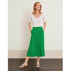Jersey Midi Skirt Rich Emerald, Polka Spot Women Boden