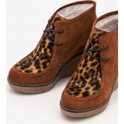 Brundall Wedge Boots Tan Leopard Women Boden found on MODAPINS from bodenusa.com for USD $161.00