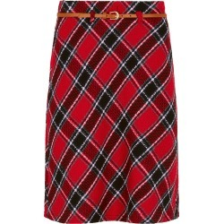 BONMARCHE Belted Check A Line Skirt - Red - size 22