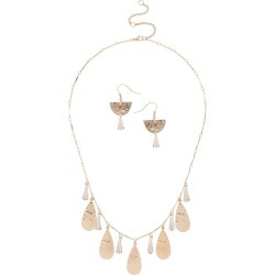 Muse Facet Drop Earring and Necklace Set - Gold - size One Size