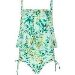 Bonmarche Watercolour Jungle Blouson Swimsuit - Green - size 12