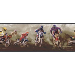York Wallcoverings BZ9450BD Kids Book Motorcross Border