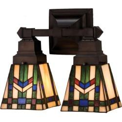"Meyda Tiffany 31247 Stained Glass / Tiffany 2 Light 12"" Wide Bathroom Fixture fr"