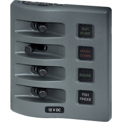 Blue Sea WeatherDeck Waterproof Fuse Panel - 4 Positions, gray found on Bargain Bro India from Camping World for $83.59