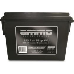 Ammo Inc. .223 Remington Processed Brass Ammo 200-Round Bulk Can, 55-gr, FMJ