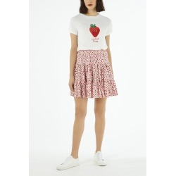 Cath Kidston Strawberry Print Tiered Mini Skirt in Light Pink, Straberries, Viscose Rayon, 6 found on Bargain Bro UK from Cath Kidston (UK)
