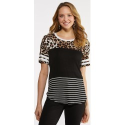 Plus Size Mixed Emotions Colorblock Tee - Black