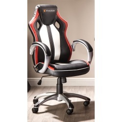 X Rocker Rogue High Back Vinyl Gaming Chair (White/Red/Black Upholstery and Black/Grey Frame) with Bluetooth Speakers