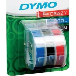 Newell 3D (9mm) Embossing Tape Assorted Colours (Blue, Black, Red) Blister Pack of 3 Rolls for Dymo Cool Clicks, Junior and Omega Label Printers