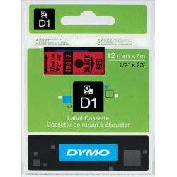 Dymo D1 (12mm) Gloss Tape (Black on Red)