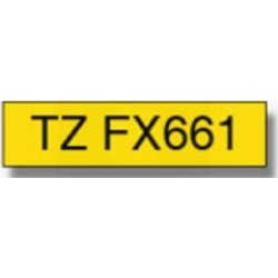 Brother P-touch TZe-FX661 (36mm x 8m) Black On Yellow Flexi Laminated Labelling Tape