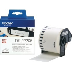 Brother DK Labels DK-22205 (62mm x 30.48m) Continuous Paper Labelling Tape (Black On White) 1 Roll