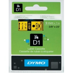 Newell D1 (9mm) Permanent Plastic Tape (Black on Yellow) for Dymo Pocket Label Printers
