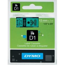 Dymo 12mm D1 Gloss Tape (Black on Green)
