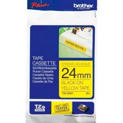 Brother P-touch TZe-S651 (24mm x 8m) Black On Yellow Strong Adhesive Laminated Labelling Tape