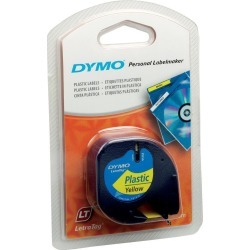 Newell LetraTAG (12mm) Plastic Tape (Black on Yellow)