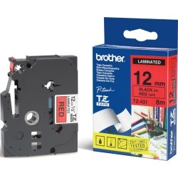 Bundle: Brother P-touch (12mm x 8m) Black On White (TZ-231) x 1 + Black On Yellow (TZ-631) x 1 Black On Red (TZ-431) x1 Laminated Labelling Tape