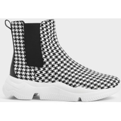 Houndstooth Print Chunky Sole Chelsea Boots