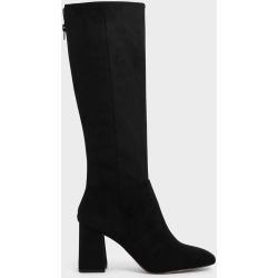 Textured Knee High Block Heel Boots