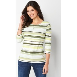 Painterly Printed Stripe Knit Tee - Cactus - Christopher & Banks