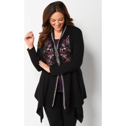 Plus Size Long Sleeve Embroidered Cardigan Plus Size Sweater - Black - Christopher & Banks CJ Banks