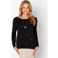 Embroidered Heartful Petite Pullover Petite Sweater