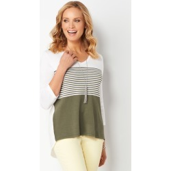 Striped Pointelle Woven Back 2fer Pullover Sweater - Cactus - Christopher & Banks