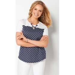 Polka Dot Printed Button-Back Knit Tee - Blue - Christopher & Banks