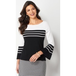 Striped Flounce Sleeve Petite Size Pullover Sweater - Black/White - Christopher & Banks