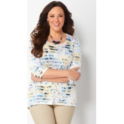 Plus Size Floral and Stripe Printed Plus Size Knit Tee - Vacation Yellow - Christopher & Banks CJ Banks