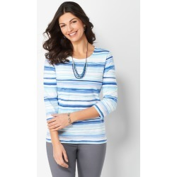 Painterly Printed Stripe Knit Tee - Birdhouse Blue - Christopher & Banks