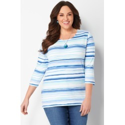 Plus Size Painterly Printed Stripe Knit Tee - Birdhouse Blue - Christopher & Banks CJ Banks