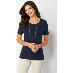Jewel Neck Essential Knit Tee - Blue - Christopher & Banks
