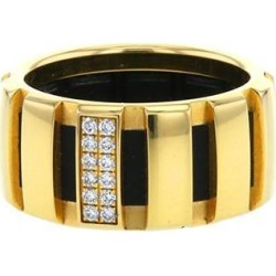 Bague en or jaune et caoutchouc noir found on Bargain Bro India from Collector Square for $2015.00