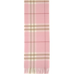 BURBERRY GIANT CHECK SCARF OS Pink, White, Beige Cashmere