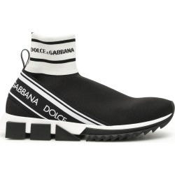 DOLCE & GABBANA SORRENTO HI-TOP RUNNING SNEAKERS 41 Black, White found on MODAPINS from Coltorti Boutique US for USD $560.00