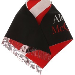 ALEXANDER MCQUEEN JACQUARD LOGO SCARF OS Black, White, Red Wool, Cashmere found on Bargain Bro Philippines from Coltorti Boutique EU for $513.50