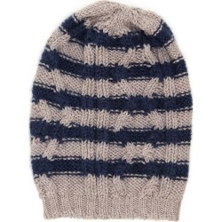 MASSIMO ALBA STRIPED BEANIE OS Blue, Beige Wool, Silk found on Bargain Bro India from Coltorti Boutique EU for $109.20