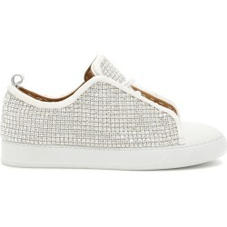 BLACK DIONISO CRYSTAL SNEAKERS 37 Silver, White Leather found on Bargain Bro India from Coltorti Boutique for $235.01