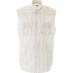PHIPPS SLEEVELESS STRIPED SHIRT M White, Brown Cotton found on MODAPINS from Coltorti Boutique US for USD $169.40