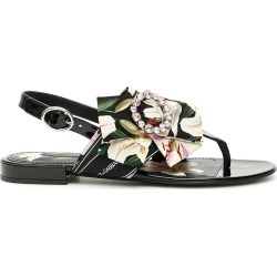 DOLCE & GABBANA PATENT SANDALS WITH BOW 39 Black, White, Green Silk found on Bargain Bro Philippines from Coltorti Boutique for $442.37