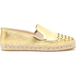 BOTTEGA VENETA WOVEN LEATHER ESPADRILLES 36 Metallic, Gold, Beige Leather found on Bargain Bro Philippines from Coltorti Boutique for $300.37